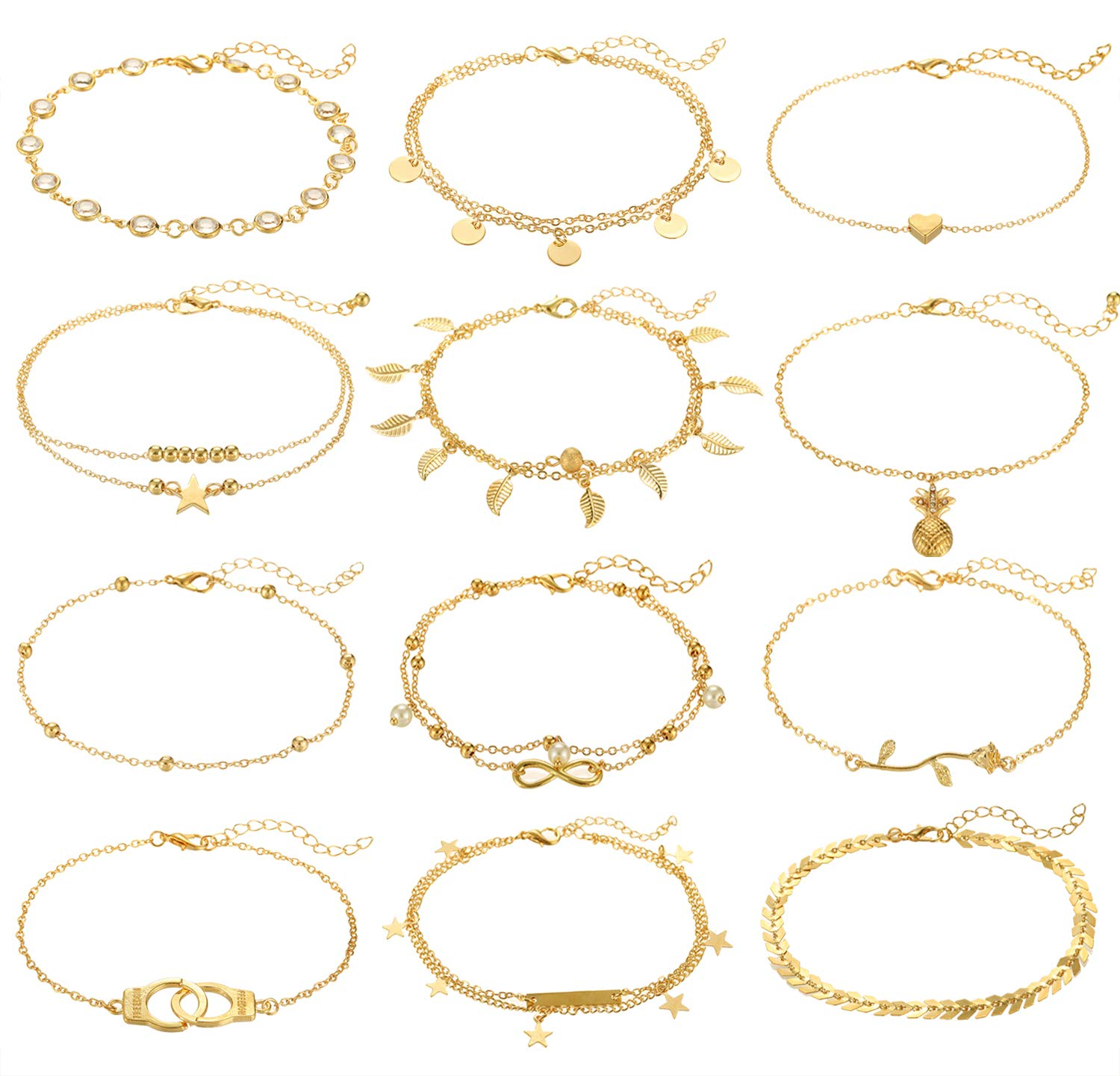 Anlsen 12Pcs Anklets for Women Girls Silver Gold Ankle Bracelets Set Boho Layered Beach Adjustable Chain Anklet Foot Jewelry by Anlsen