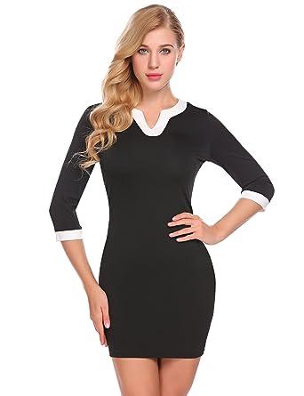 4b9a71124b38 ELESOL Women's Vintage V-neck Office Work Business Bodycon Pencil Dress  Black S