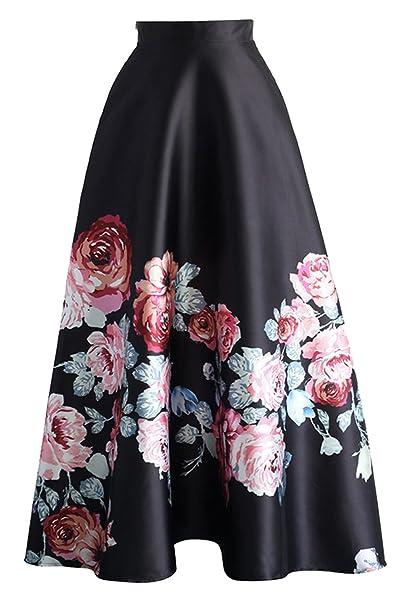 0a0bc254dd V-SOL Falda Larga de Cintura Alta Encaje Floral para Mujer Fiesta Negro  Talla M Cintura 72cm  Amazon.es  Ropa y accesorios