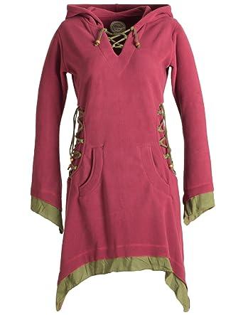 4e24017d9356 Vishes - Alternative Bekleidung - Langarm Lagenlook Elfenkleid aus Eco  Fleece mit Schnürung und Zipfelkapuze
