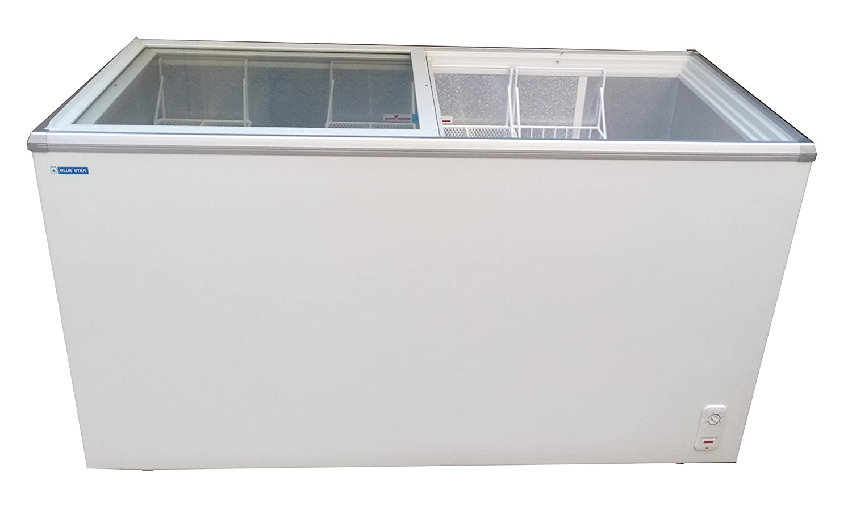Blue Star Glass Top Deep Freezer, 400L (White, GT400)