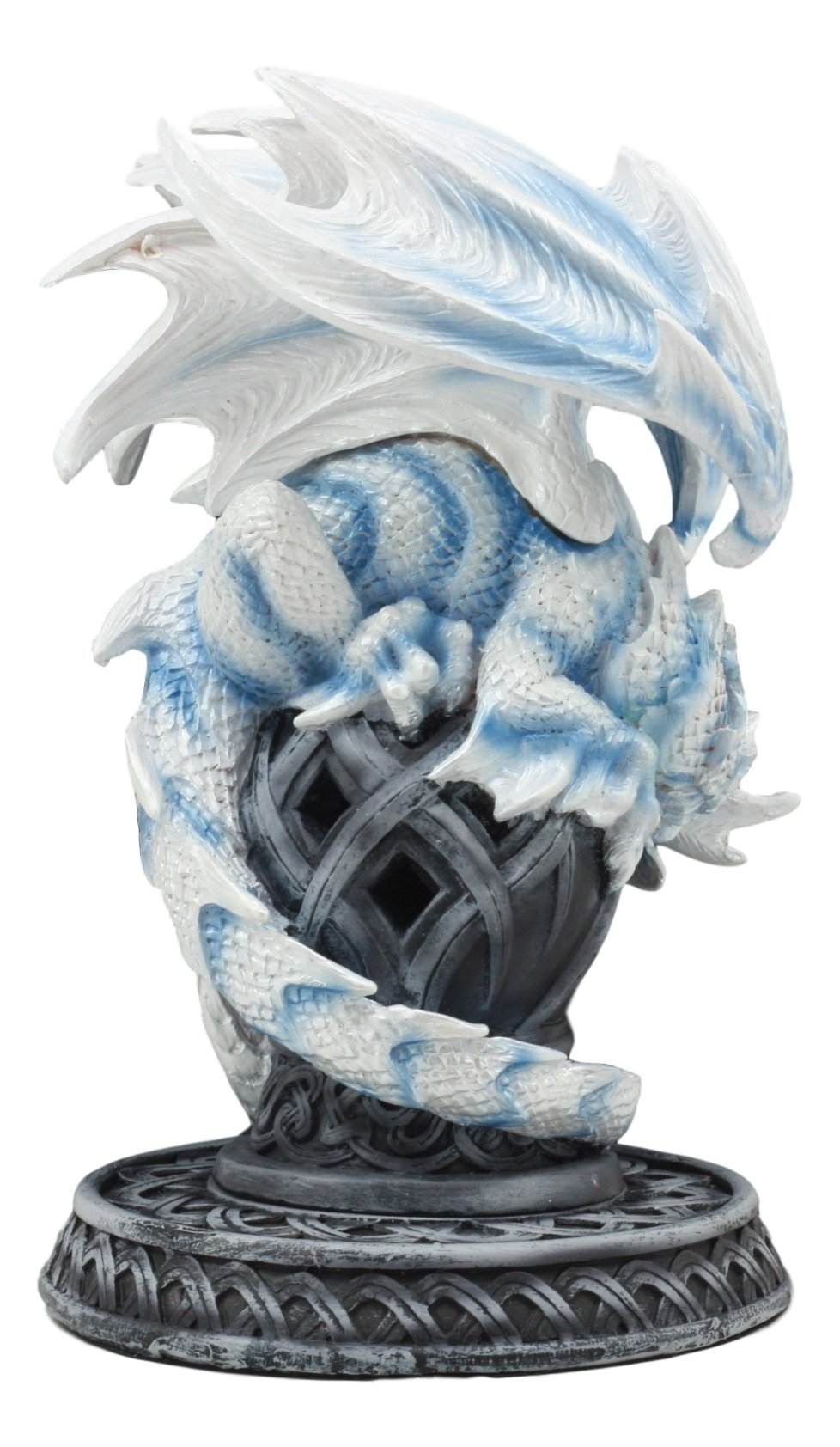 Ebros Guardian of Celtic Tomb White Icycle Dragon Backflow Cone Incense Holder Statue 8.5''Tall Fantasy Icelandic Dragon LED Tea Light Candle Holder Figurine by Ebros Gift (Image #4)