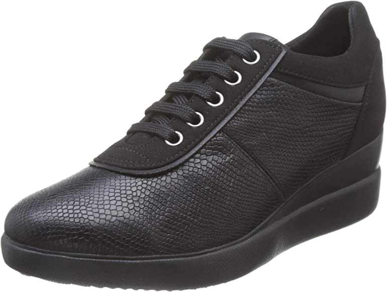 Geox Women's D Stardust A Low Top Sneakers, Black (Black