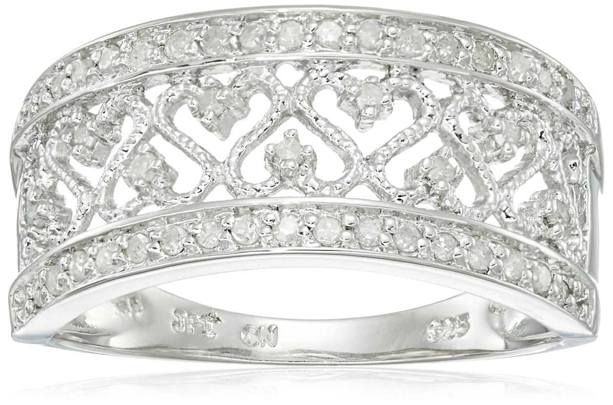 Sterling Silver Multi-Heart Diamond Ring (1/5 cttw, I-J Color, I2-I3 Clarity), Size 8