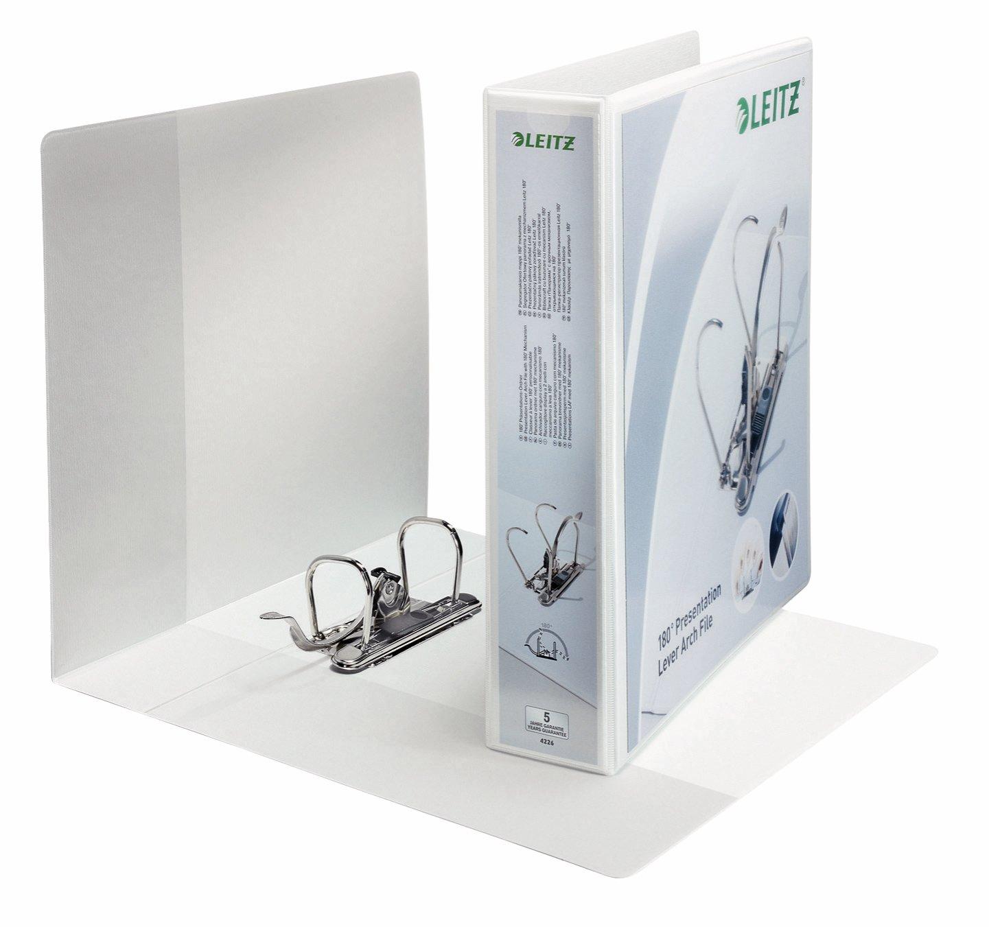 Leitz Raccoglitore personalizzabile con meccanismo a leva 180°, Per presentazioni, Formato A4 Maxi, Cartone rivestito in polipropilene, Dorso 7.5 cm, Bianco, 42250001