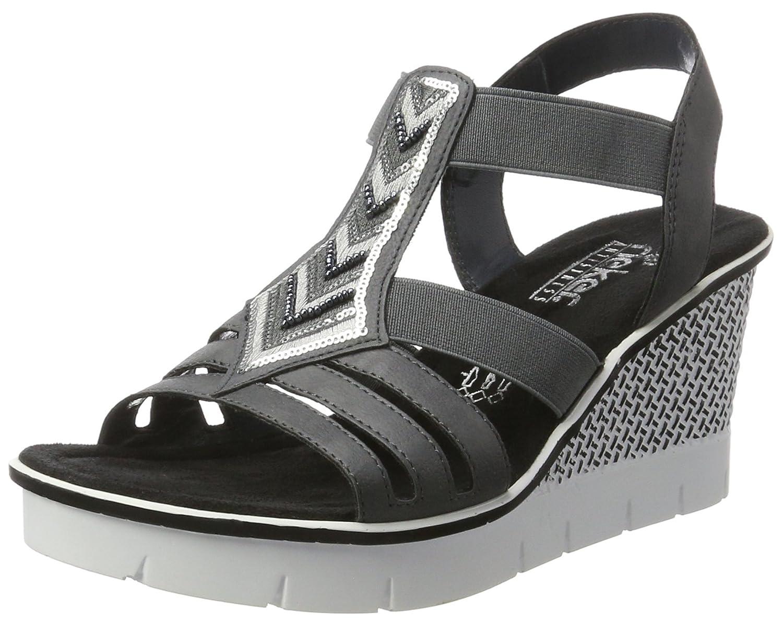 Details zu Rieker Damen Sandalette schwarz Größe Keilabsatz V55D8 Sommer NEU