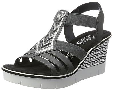 Rieker Damen 68501 Offene Sandalen mit Keilabsatz
