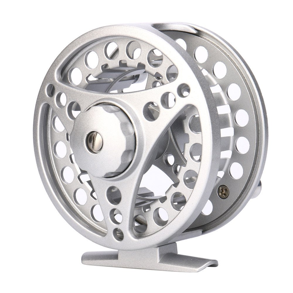 SMyFone Fly Reel 3/4/5/6/7/8 WT Large Arbor Silver/Black Aluminum Fly Fishing Reel