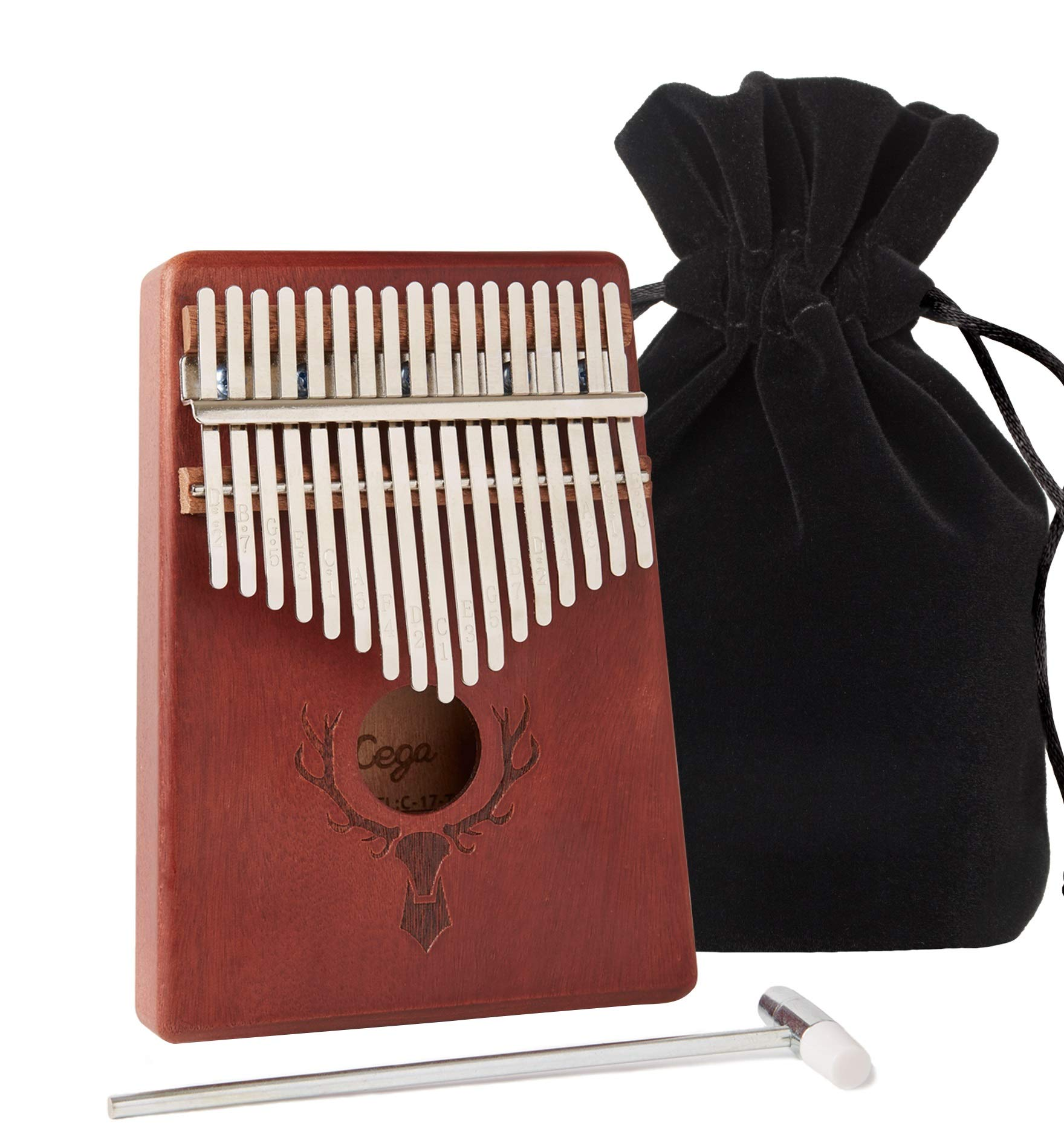 TimberTunes 17 Key Kalimba Thumb Finger Piano Therapy Musical Instrument for Adults Children, Solid Mahogany Wood, Engraved Elk Antler,Tuning Hammer and Music Book, Engraved Keys, Velvet Case, Unique