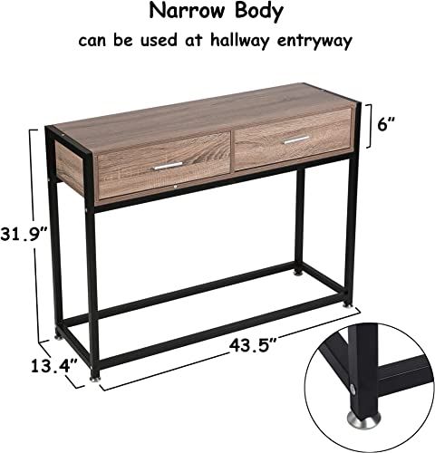 LuckyerMore Entryway Console Table Hallway with 2 Drawers Wooden Metal Narrow Sofa Table with Two Storage Compartments Brown