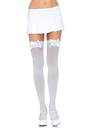 1a7a9bca22 Leg Avenue Opaque Suspender Stockings with Bows  Amazon.co.uk  Toys ...