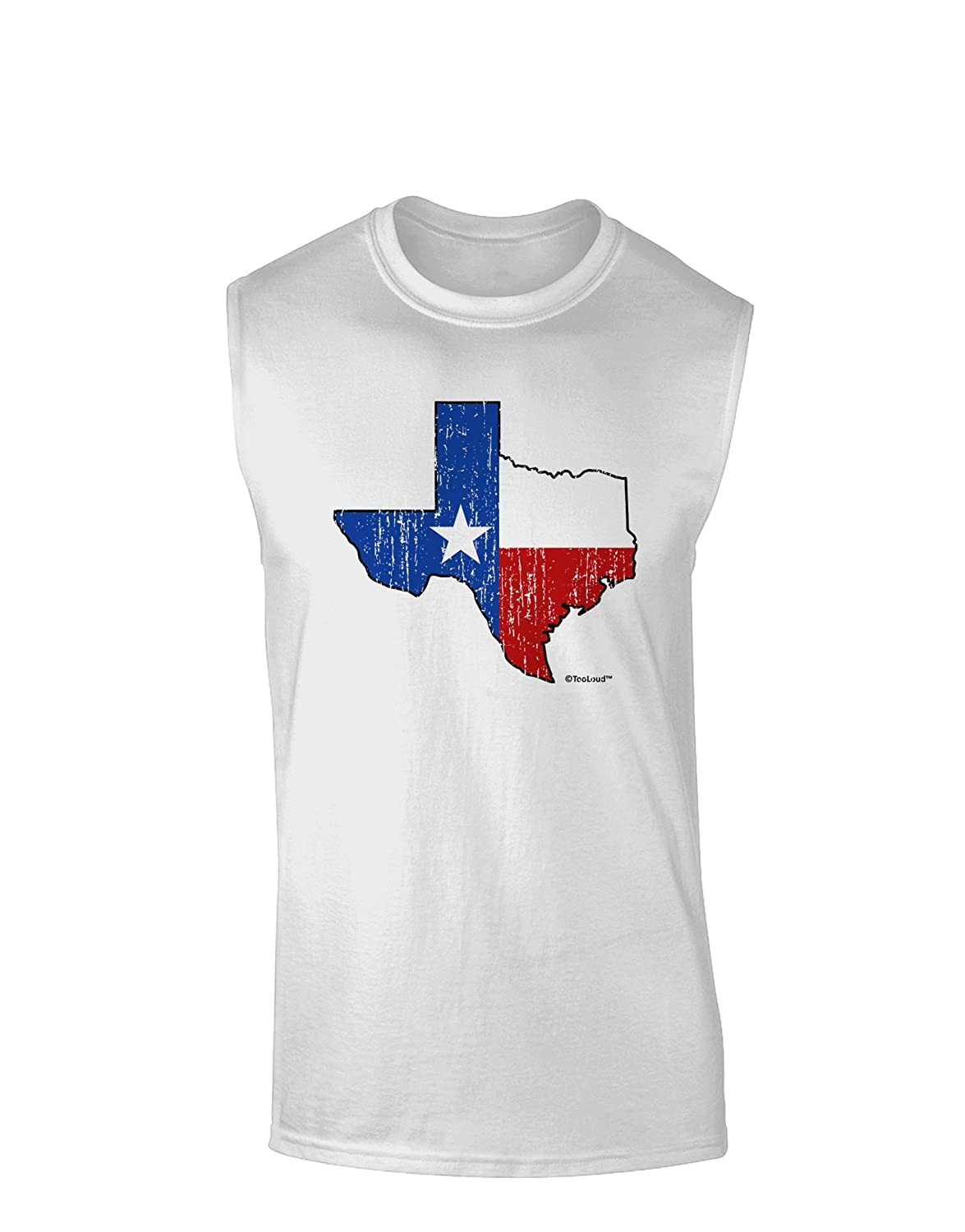 TooLoud State of Texas Flag Design Distressed Muscle Shirt