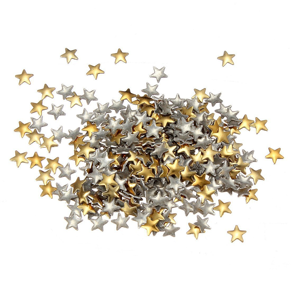 SODIAL(R) Nail Art 250 Pieces Gold & Silver 5mm Star Metal Studs for Nails