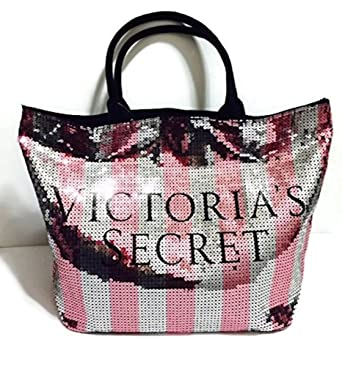 cf1e993f3498d Victoria's Secret Limited Edition Sequins Canvas Tote Bag Iconic Stripes
