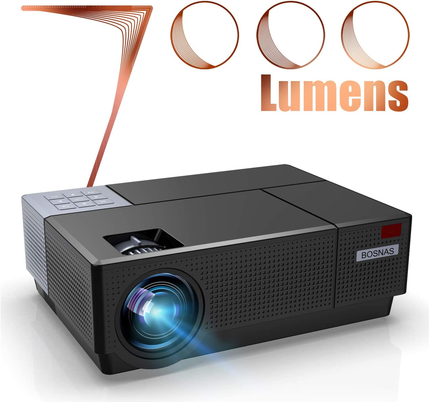 BOSNAS Projector 1080p Native 7000 Lux Supports 4K