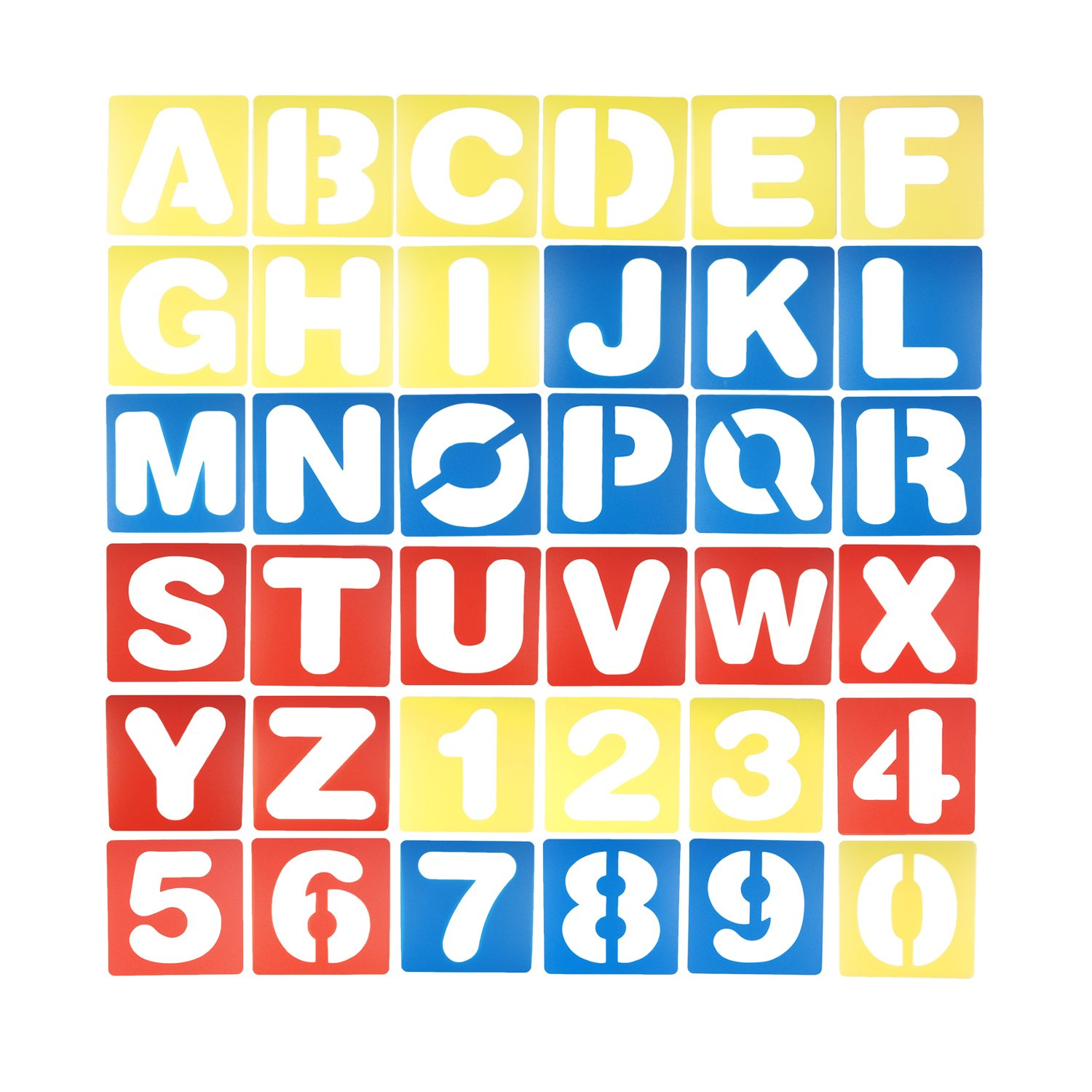 Vfond 36 Pieces Alphabet and Number Stencils Set Plastic Letter Stencils and for Painting Learning, Journaling, Scrapbooking, Card and Art Projects