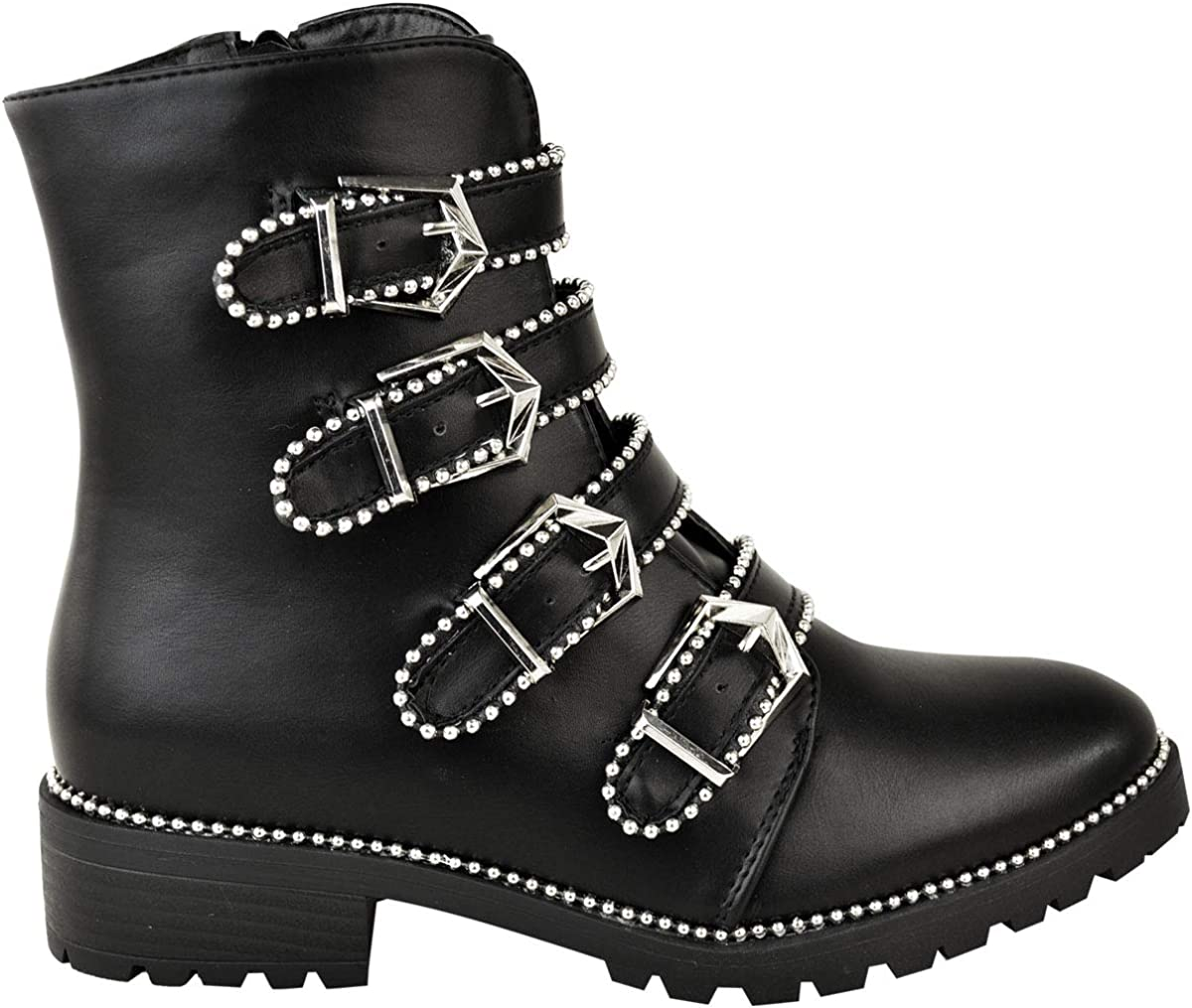 Fashion Thirsty Womens Low Heel Studded Ankle Boots Biker Buckles Beaded Size