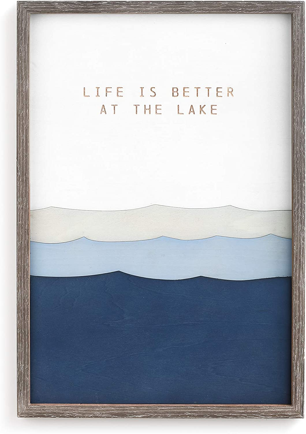 DEMDACO Life is Better at The Lake Blue 11 x 16 Wood Decorative Wall Art Sign