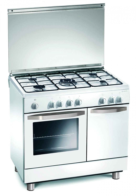 Cocina Gas 90x60x85 cm 5 quemadores blanco con horno eléctrico ...