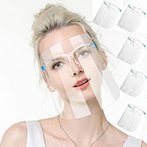 TUSPUZZ 6Pcs Unisex Reusable Goggle Facial Covering Clear Transparent Face Visor for Man and Women