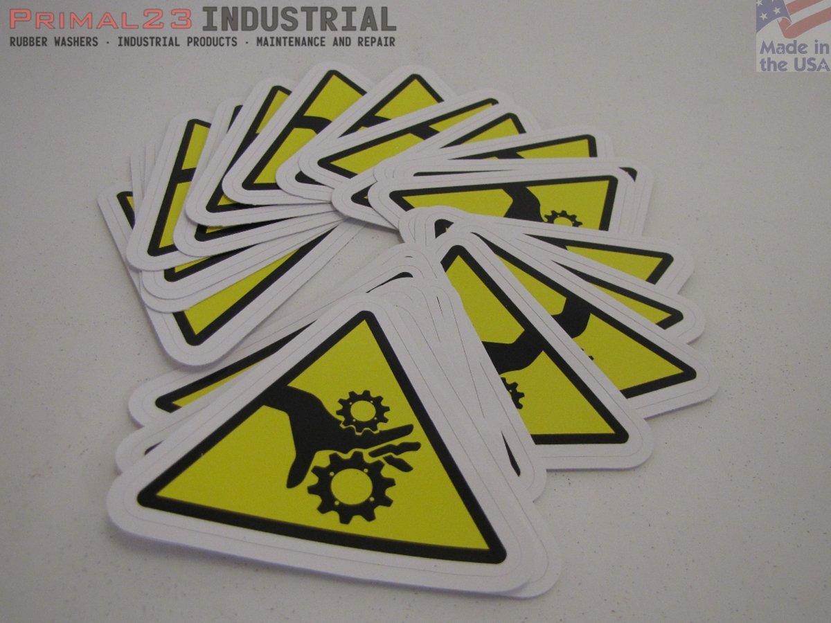 25 Pinch Point - Identification Safety Stickers | Triangular Pinch Point Safety Decals by Primal23 Industrial