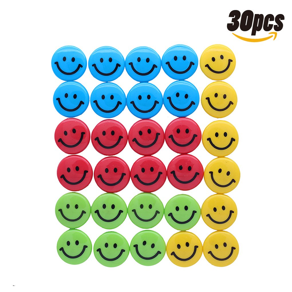 Lucky Cion 30mm Smile Whiteboard/Refrigerator Magnet 30pcs/Tub Display-Assorted Colors