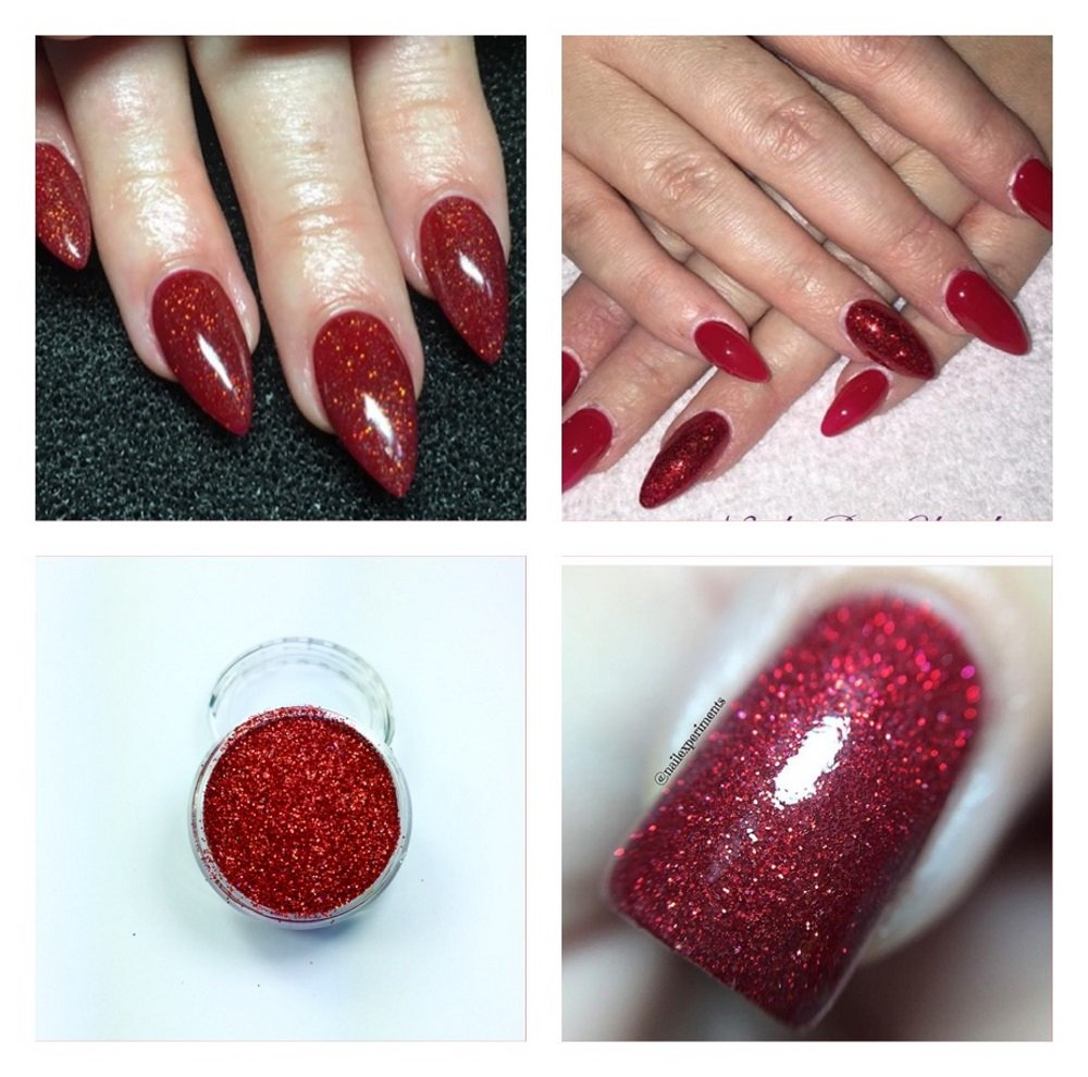 Amazon.com: Mermaid Red Holographic Acrylic Powder Pre Mixed Glitter ...