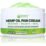 Organic Hemp Oil Extract Cream 1000mg - Ultra Premium Pain Relief & Anti-Inflammatory Healing for Arthritis, Nerve, Back, Joint, Bone, Ankle, Knee, Chronic & Acute Pain - Non-GMO Ultra-Pure