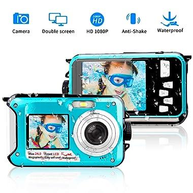 Underwater Camera 24.0MP Waterproof Digital Camera Full HD 1080p Selfie Dual Screen Video Recorder Point and Shoot Digital Camera Waterproof Camera for Snorkeling
