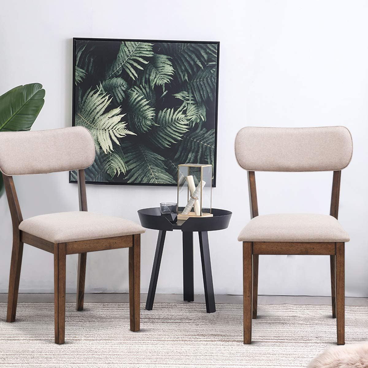 Giantex Set of 2 Mid Century Modern Dining Chairs w Wood Legs Upholstered Seat, 2 Armless Fabric Upholstered Dining Side Chairs