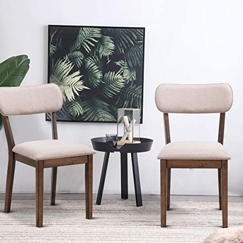 Giantex Set of 2 Mid Century Modern Dining Chairs w/Wood Legs Upholstered Seat