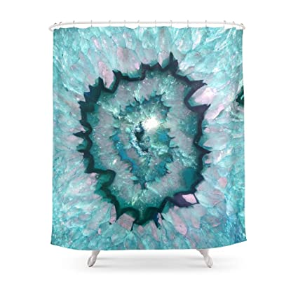 Society6 Teal Agate Shower Curtain 71quot