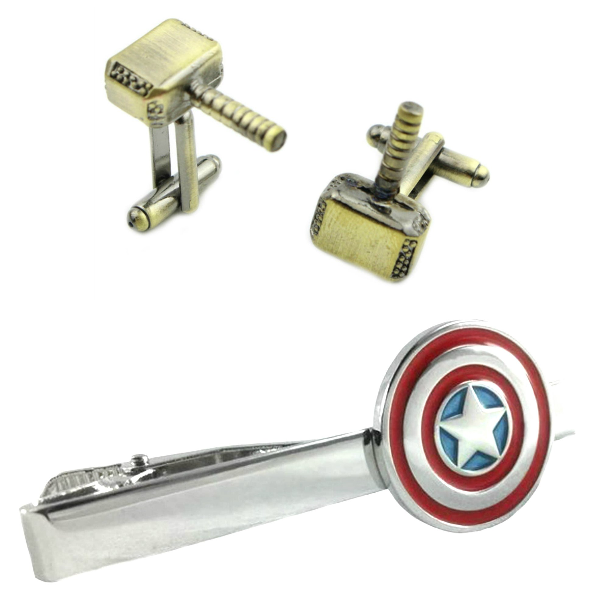 Outlander Thor Bronze Cufflink & Captain America Tiebar - New 2018 Marvel Studios Superhero Movies - Set of 2 Wedding Logo w/Gift Box