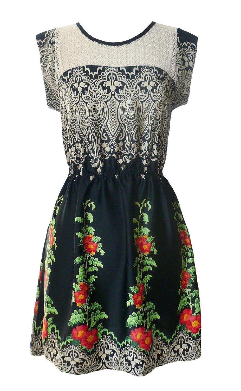 Darimeya Tips red flower Dress S-L Black