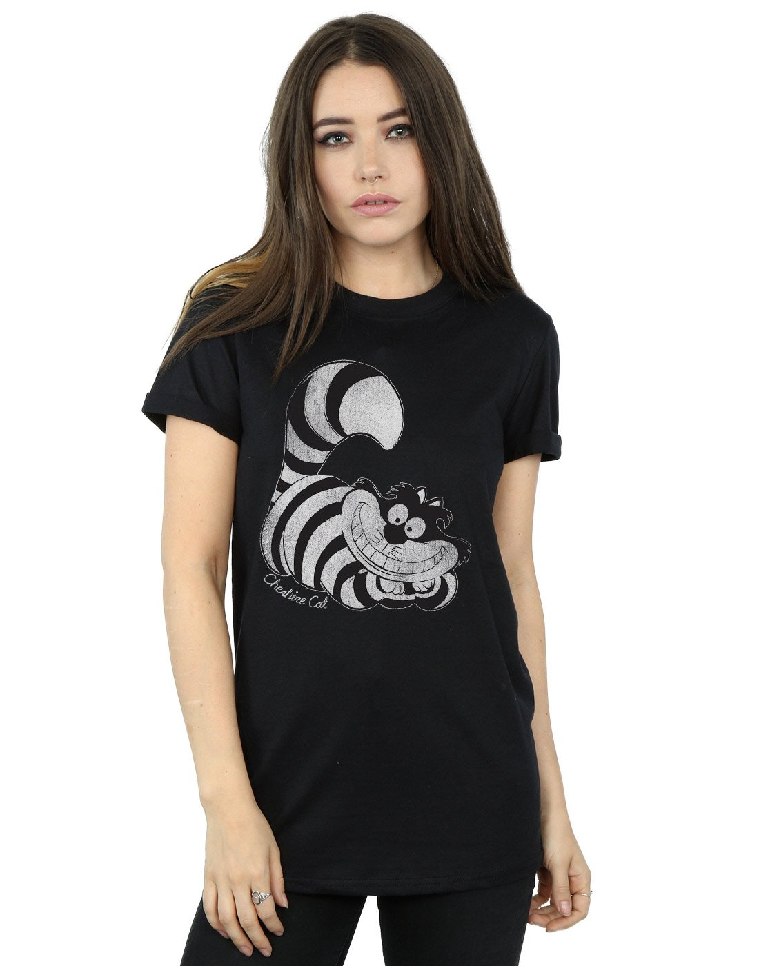 Disney Women's Alice in Wonderland Mono Cheshire Cat Boyfriend Fit T-Shirt Small Black