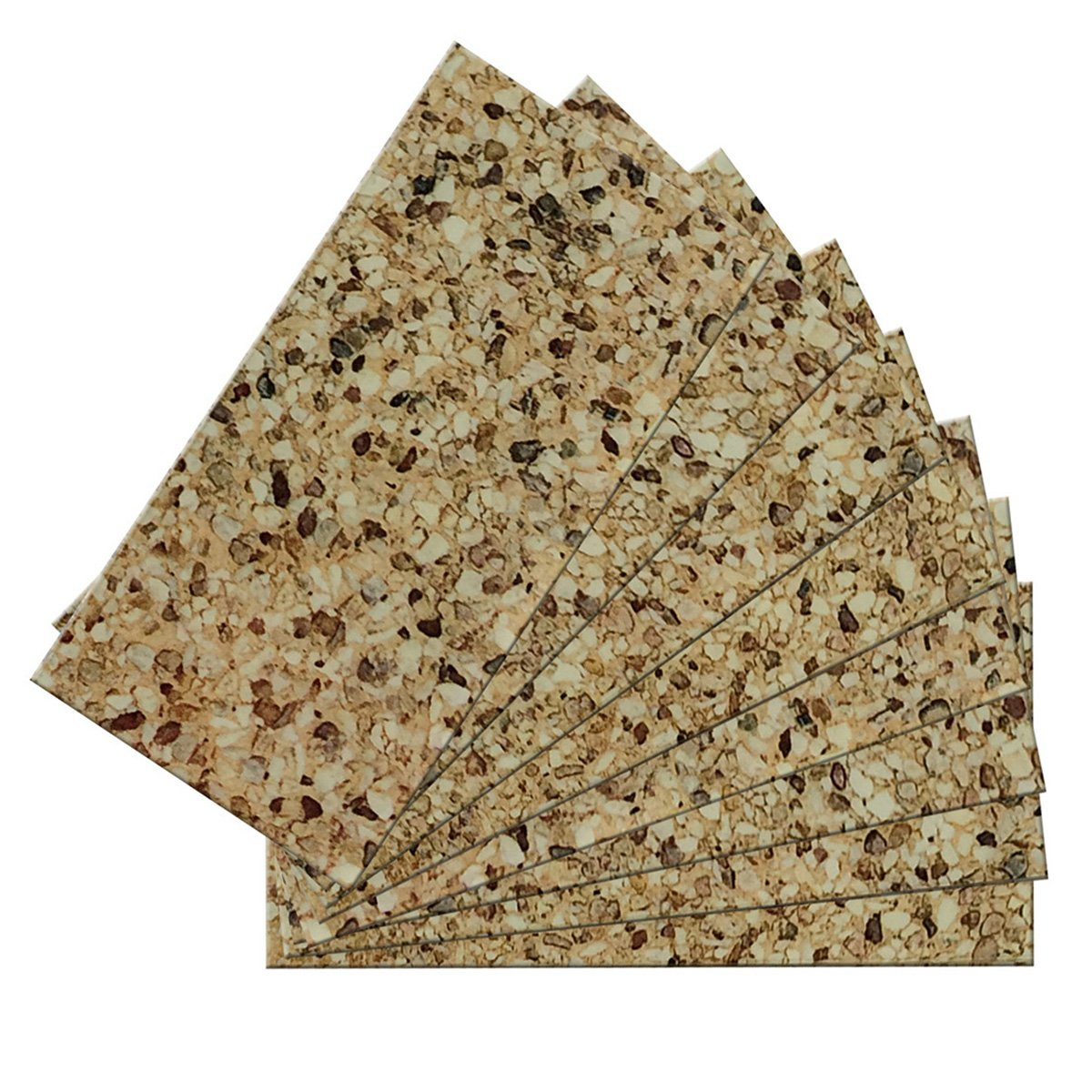 SkinnyTile 4407 Peel and Stick Washed Gravel Shades Glass Wall Tile (48 Pack), 6'' x 3'', Brown/Tan