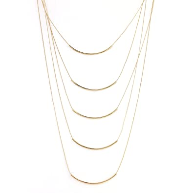834709f5d2a1a9 United Elegance Designer Contemporary Collection 3 - Stylish Gold or Silver  Tone Multi-Strand Necklaces with/Without Agglomerated Stone, Crystals and  Bar ...