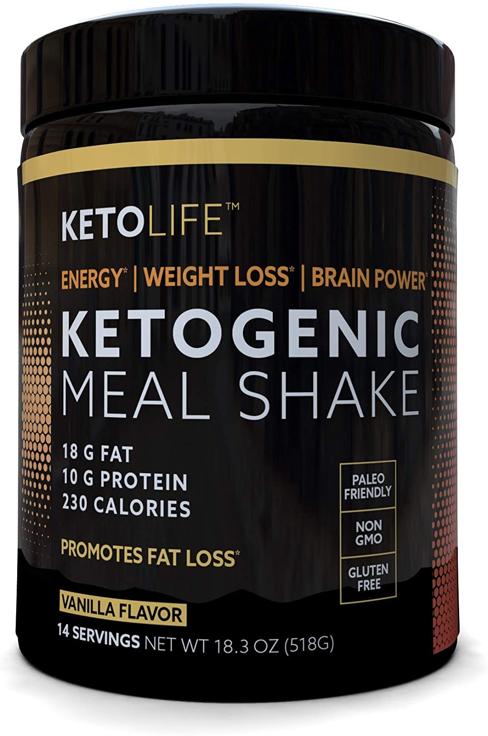 KetoLife Ketogenic Meal Shake Vanilla Dietary Supplement, Rich in MCTs and Protein, Keto and Paleo Friendly, Weight Loss, 18.3 oz. (14 servings)