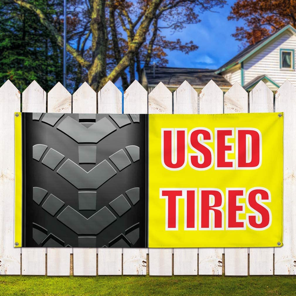 48inx96in Multiple Sizes Available One Banner 8 Grommets Vinyl Banner Sign Used Tires Auto Car Vehicle Style H Marketing Advertising Yellow