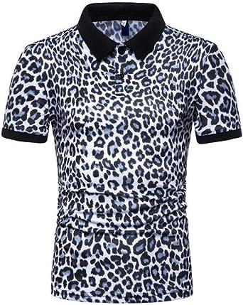Camisetas Verano Hombres Moda Celosía Estampado De Leopardo ...