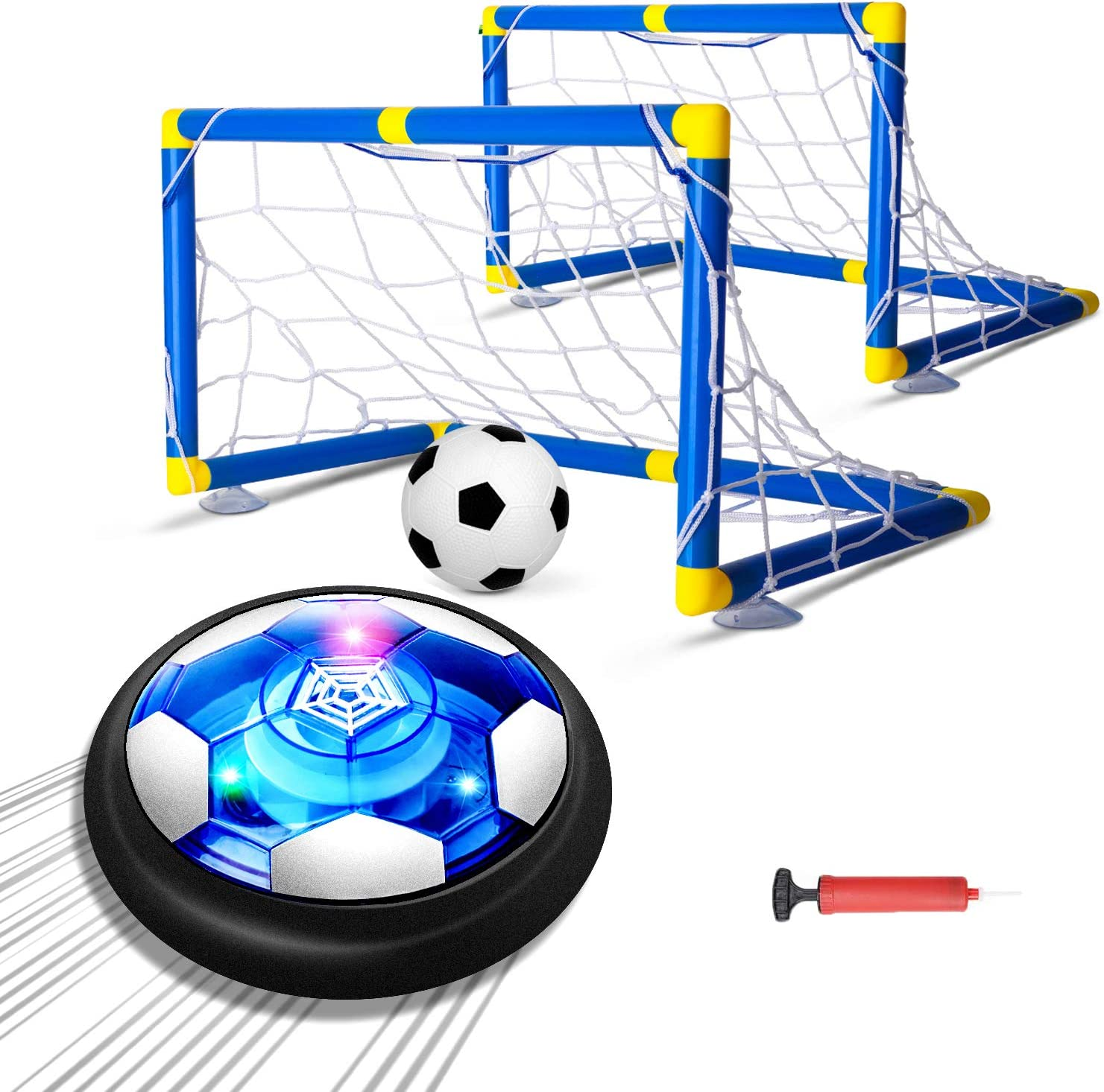 Kids Toys Hover Soccer Ball Set with 2 Goals, Air Soccer with LED Light, USB Rechargeable Floating Soccer Ball with Foam Bumper for Indoor Outdoor Sports Ball Game, Football Toy for Boy Girl Best Gift: Sports & Outdoors