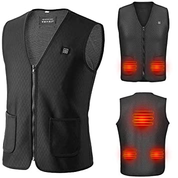 Giubbotto riscaldante per uomo gilet riscaldato cappotto riscaldato elettrico Gilet riscaldato in ricarica USB con controllo della temperatura regolabile a tre livelli per lo sci allaperto campeggi