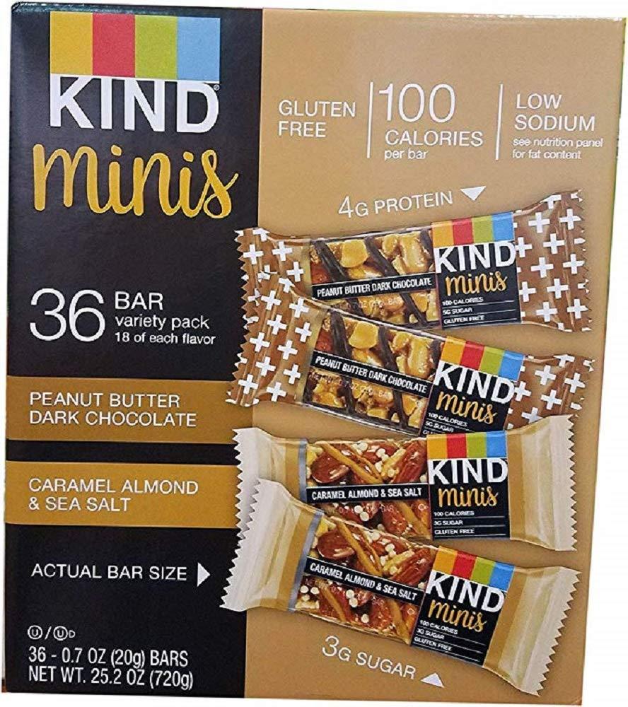 KIND Bar Caramel almond and sea salt & Peanut Butter Dark Chocolate, (Minis Variety Pack, 36 Bars)