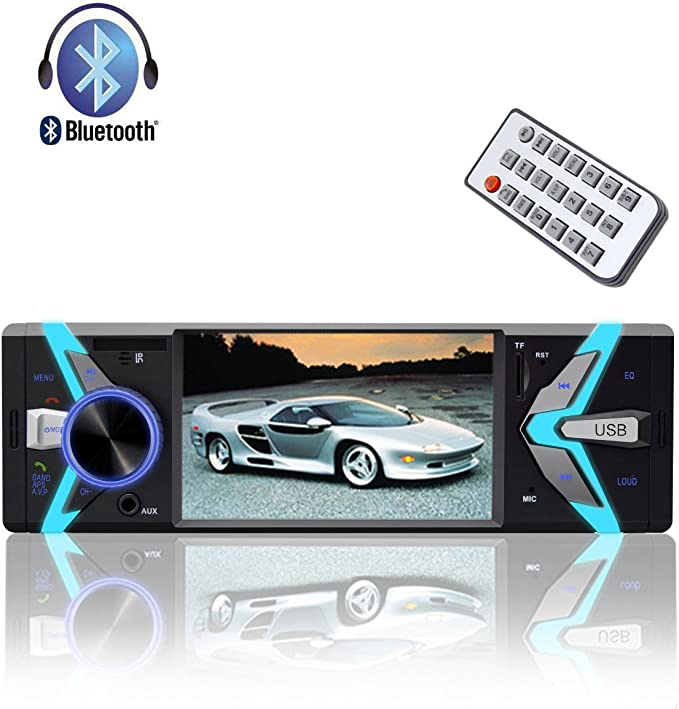 MirrorLink Bluetooth Car Audio Video Player Rear Mic In Dual USB Port AUX In Podofo Single Din Car Stereo 4.1 Capacitive Touchscreen Support SIRI Smart AI Voice Control AM//FM//RDS Radio Receiver
