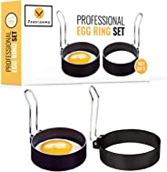JORDIGAMO Professional Egg Ring Set For Frying Or Shaping Eggs - Round Egg Cooker Rings For Cooking - Stainless Steel Non Sti
