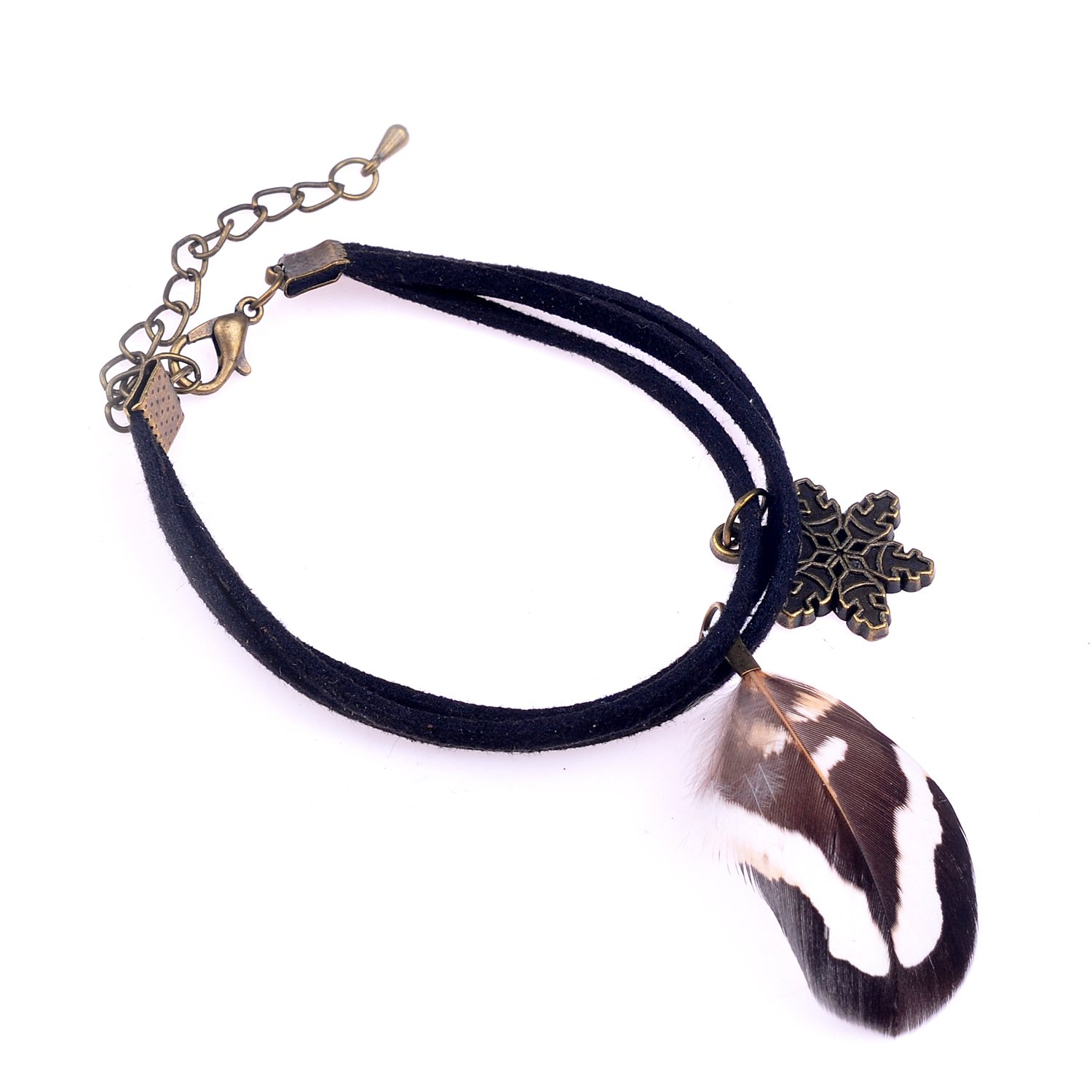 bl003016 LUREME Native American Jewelry Pheasant Feather with Star Pendant Leather Chain Bracelets