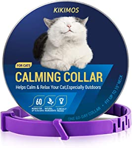 KIKIMOS Adjustable Calming Collar for Cats and Small Dogs, Reduces Pets Anxiety, Kitten Pheromone Calm Collar Up to 15 Inches, 60 Days Release (1 Pack)