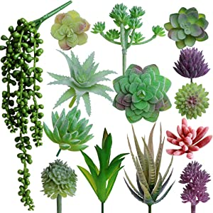 Outee 14 Pcs Fake Succulents Artificial Succulents Plants Fake Plants Assorted Faux Succulents Artificial Hanging Succulents Flocking Textured Bouquet String of Pearls Succulent Decor