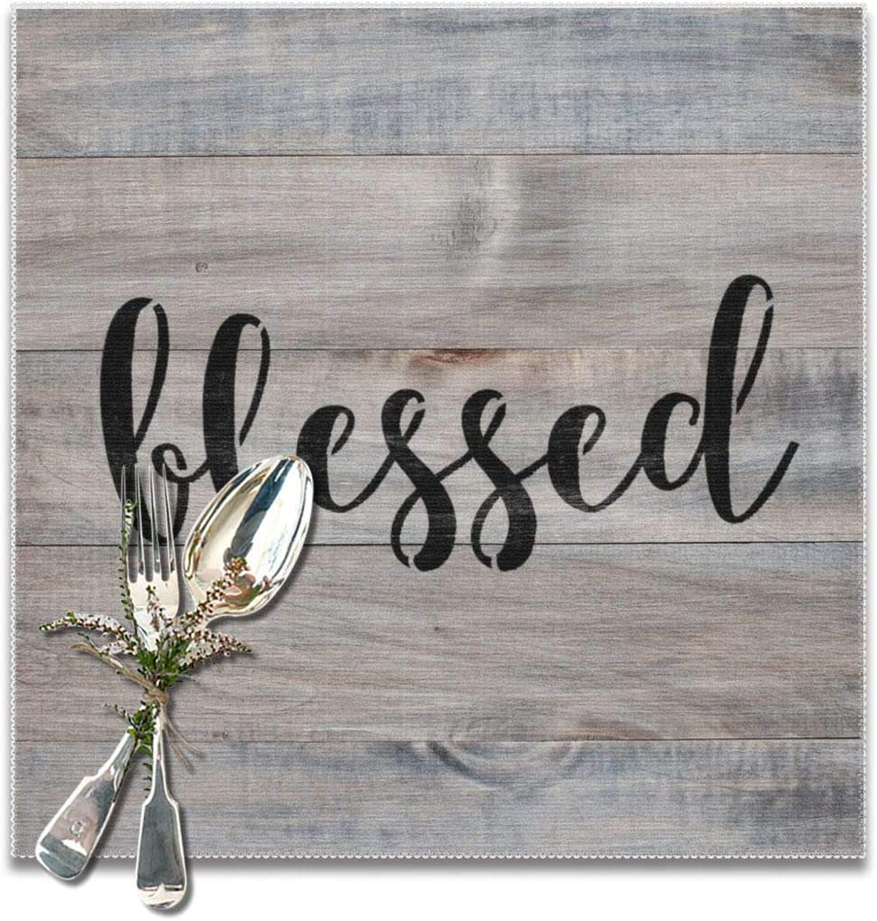 LOVEEP Blessed Place Mats for Table, Heat-Resistant Non-Slip, Environmental Polyester Placemats Set of 6 for Dining Table