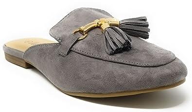b08a2ffda1 Victoria Women Faux Suede Slip-On Mules, Flat Loafer Slipper w/Tassels